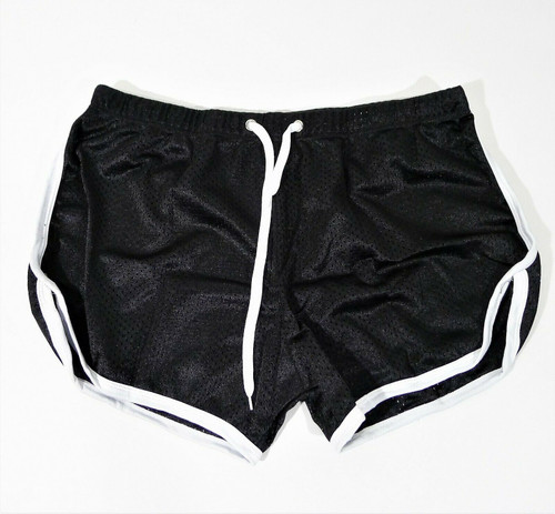 Ouber Men's Black Fitted Shorts Workout Gym Running Tight Lifting Shorts - NEW