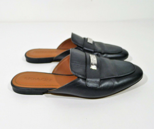 Coach Women's Black Leather Shea Slide Shoes Size 8.5 B - **SCUFFS ON TOES