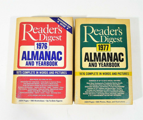 Reader's Digest 1976,1977 Almanac and Yearbooks Paperback Books **DISCOLORATION