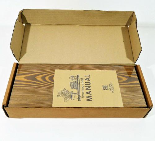 "Set of 2 Baobab Floating Walnut Colored Wood Shelves 16"" x 6.7"" - NEW OPEN BOX"