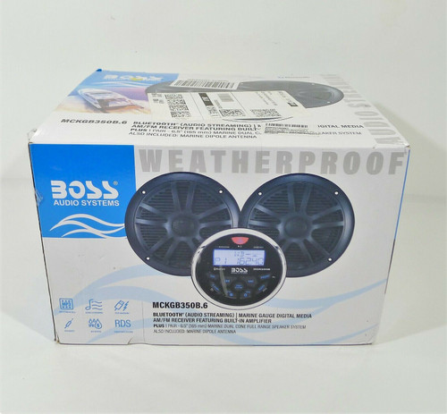 "Boss Black Audio Marine Gauge Radio 2 6.5"" Speakers MCKGB350B.6 - OPEN BOX"