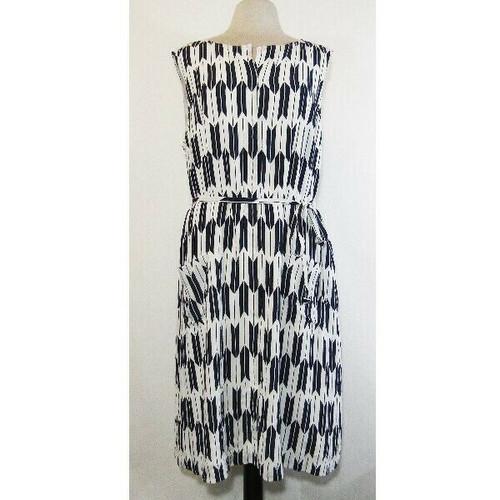 Pendleton Women's Blue & White Sleeveless Midi Dress w/ Pockets Size 16