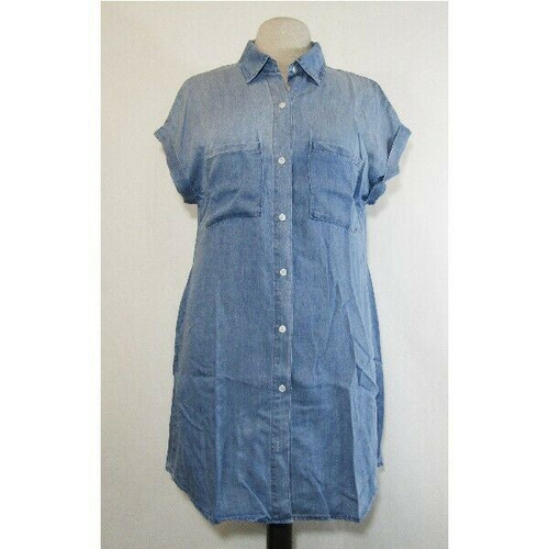 Zilcremo Women's Blue Denim Button Up Shirt Dress w/ Pockets Size L **NWT**