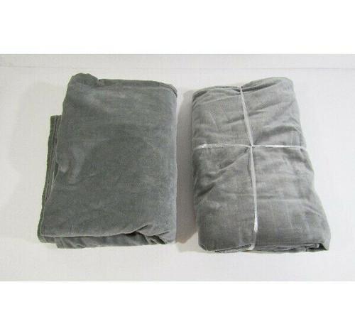 "CB2 2 Pack Matching Graphite Velvet Curtain Panels 48"" W x 120"" H"