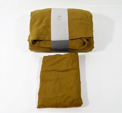 CB2 Linen Dijon Queen Sheet Set  - **MISSING ONE PILLOW CASE