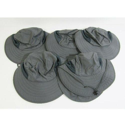 Set of 5 Dark Gray Unisex Outdoor/Fishing Bucket Hats w/ Neck Flap, One Size