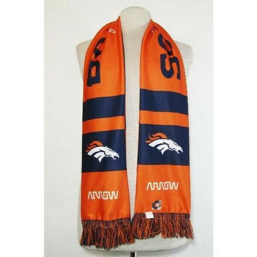 NFL Denver Broncos Unisex Orange & Navy Blue Scarf w/ Fringe Ends, One Size