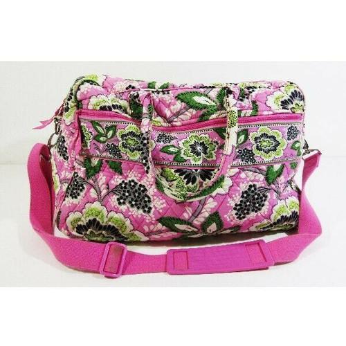 "Vera Bradley Pink & Green Floral Large Duffle Bag 20"" L x 14"" H x 11"" W"