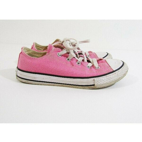 Converse All Star Girls Pink Low Top Sneakers Size 2 Youth **Has Stain & Scuffs