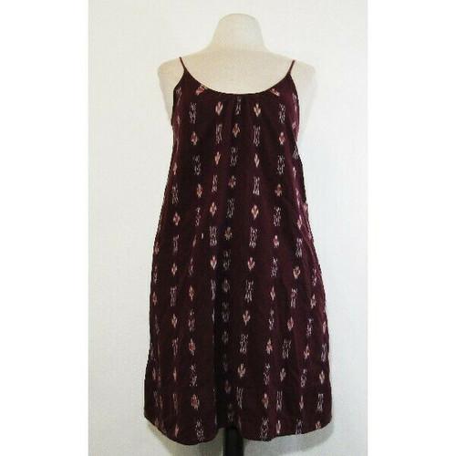Madewell Women's Sleeveless Backyard Burgundy Ikat Dress w/ Pockets Size Small