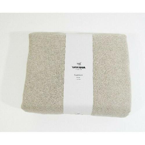 "CB2 Eyelash Belgium Linen Blush King Blanket w/ Fringe Detail 108"" x 90"" **NWT**"