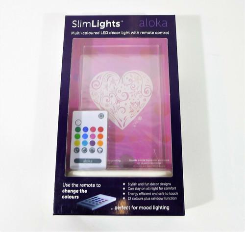 Aloka SlimLights Heart LED Decor Light with Remote Control - NEW