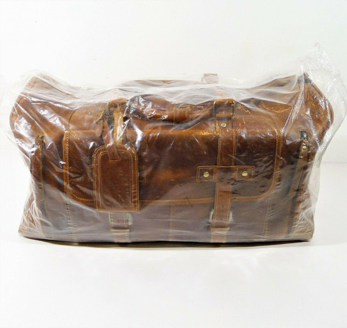 KomalC Tan Leather Travel Duffel Bag with Shoe Pocket - NEW WITHOUT TAGS