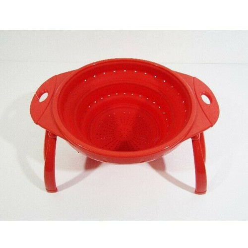 """Dexas Pop Ware Red 4 Quart, 10"""" Collapsible Silicone Colander **NEW WITH TAGS**"""