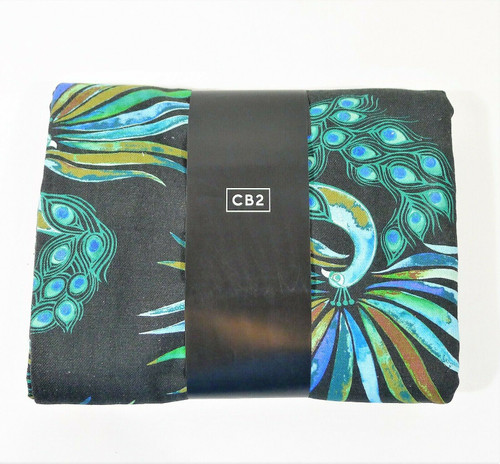 """CB2 Peacock Curtain Panel (1) 48"""" x 120"""" - OPEN PACKAGE"""