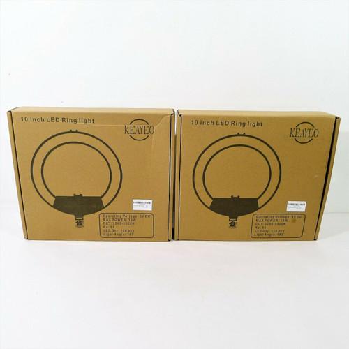Set of 2 KeaYeo Black 10.2 LED Ring Light with Tripods - OPEN BOX