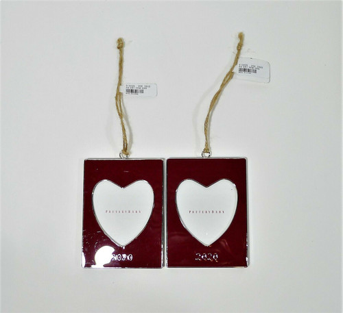 Set of 2 Pottery Barn 2020 Enameled Open Heart Frame Ornaments **LIGHT SCRATCHES