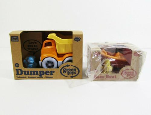 Green Toys Children's Dumper Truck & Race Boat, Ages 2+ **NEW IN BOX**