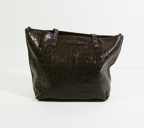 "Ellen Tracy Women's Brown Faux Leather Handbag/Purse 14""L x 10""H x 5"" W"