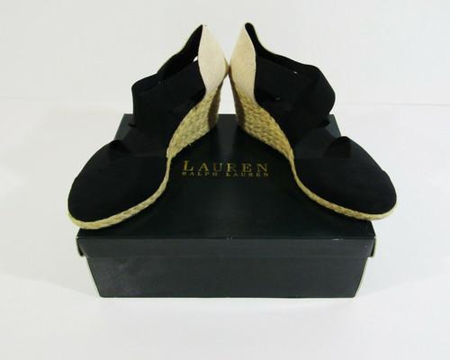 Ralph Lauren Women's Black Collins Closed Toe Wedges Size 8.5 B, In Original Box