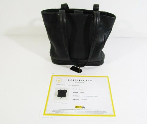 Coach Women's Black Leather Bucket Tote w/ COA by Entrupy **WEAR ON PIPING**