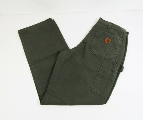 Carhartt Men's Green Washed Duck Work Dungaree Loose Fit Jeans Size 34x34 *NWT*