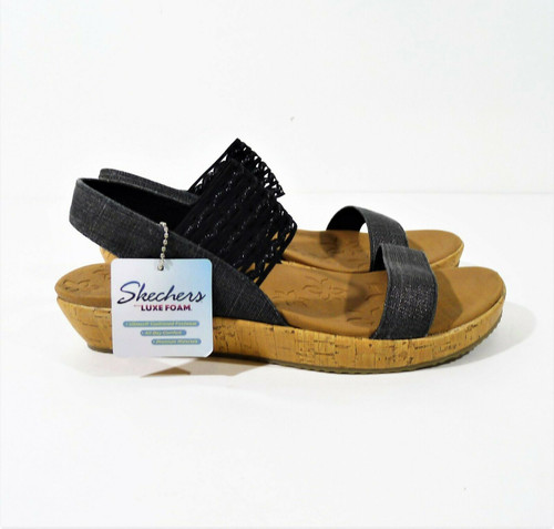 Skechers Women's Black Luxe Foam Sandals Shoes Size 9
