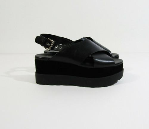 Michael Kors Women's Black Leather Criss Cross Platform Sandals Size 6M