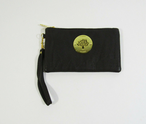 """Mulberry Women's Brown Leather Zip Up Wristlet 7"""" x 4"""""""