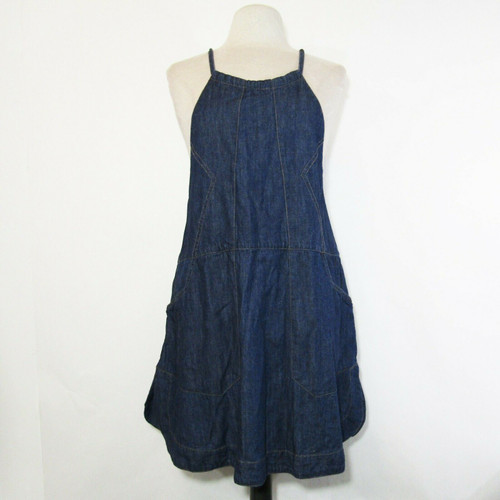 Free People Women's Sleeveless Denim Tie Back Dress w/ Pockets Size Small Petite