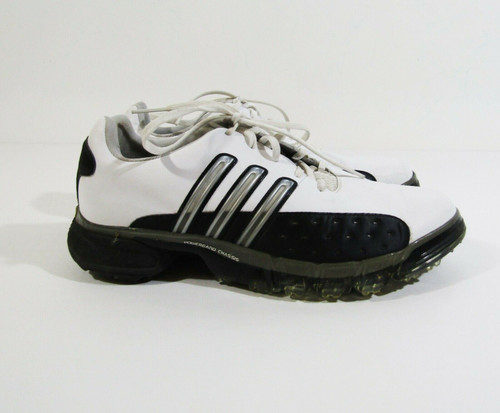 Adidas Men's White & Black Powerband Chassis Golf Shoes Size 8 **HAS DIRT/WEAR**