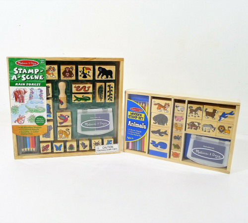 Set of 2 Melissa & Doug Wooden Stamp Sets - Animals and Rain Forest - NEW SEALED