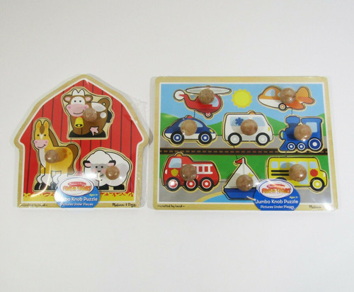Melissa & Doug Set of 2 Jumbo Knob Puzzles, Ages 1+ **NEW IN PACKAGE**