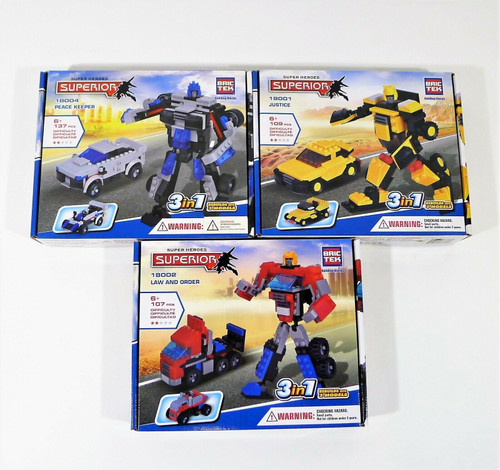 Set of 3 BricTek Building Blocks - Justice,  Law & Order and Peace Keeper - NEW