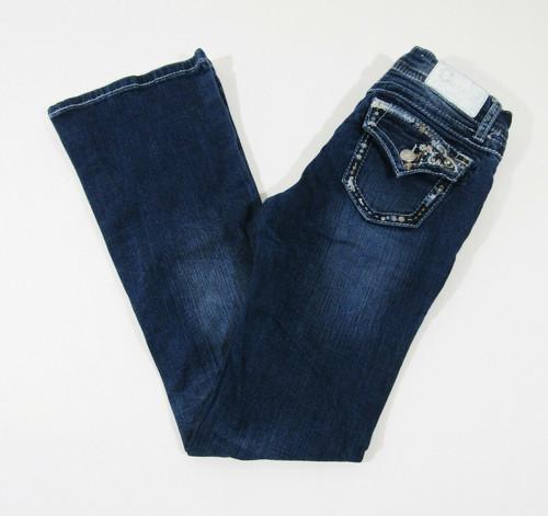 Charme Girls Floral Embellished Medium Wash Bootcut Jeans Size 14
