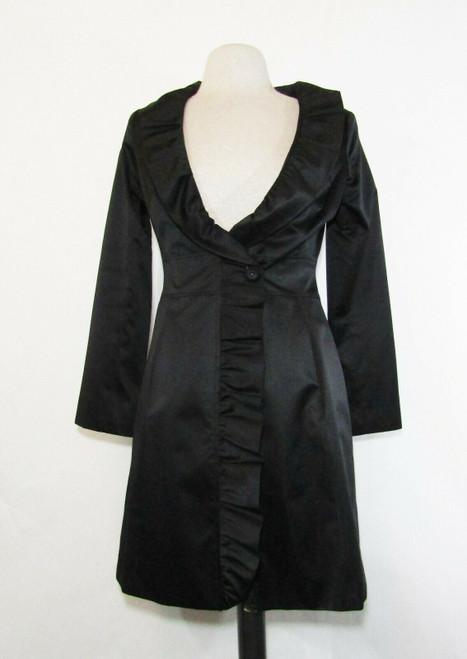 White House Black Market Women's Black Long Sleeve Ruffled Dress Coat Size 0