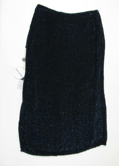 Retrofete Women's Navy Blue Sequined 1/4 Zip Veronica Skirt Size XS **NWT**