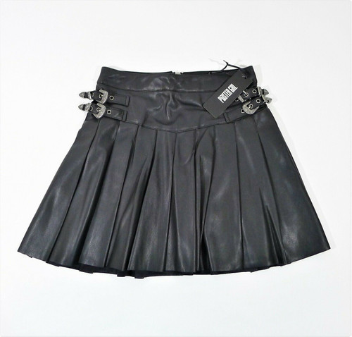 Poster Grl Trailblazer Pleated Vegan Leather Mini Skirt Size Small NEW WITH TAGS
