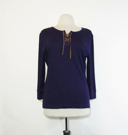 Chaps Denim Women's Purple 3/4 Sleeve Blouse Size L **NEW WITH TAGS**