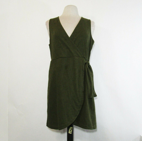 Madewell Women's Olive Sleeveless V Neck Wrap Dress Size L *Has Spot/Stain