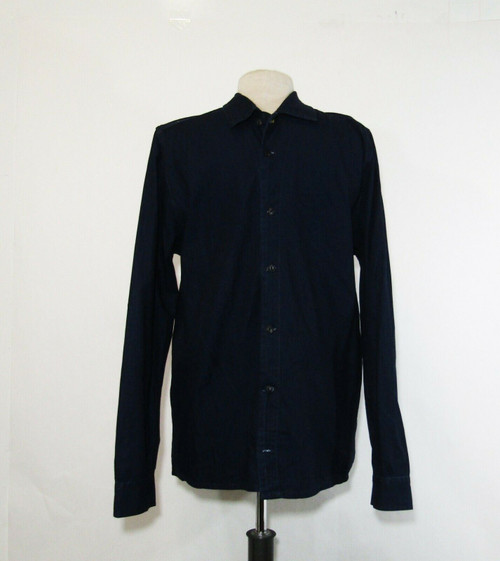 Nudie Jeans Co. Men's Blue Long Sleeve Button Down Shirt Size L **Has Fraying