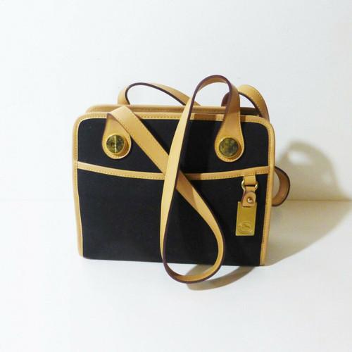 Dooney & Bourke Black Textile/Brown Leather Trim Shoulder Bag