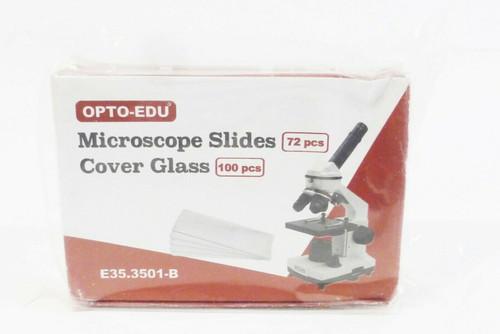 Opto-Edu 72pc Microscope Slides w/ 100pc Cover Glass *NEW-Box has wear*