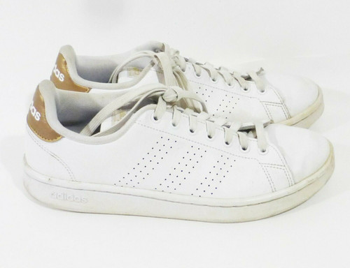 Adidas Advantage Women's White and Gold Trainers Size 8.5 F36223