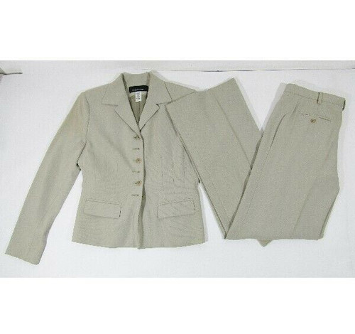 Jones New York Women's Beige Pantsuit Size 4 Top, Size 6 Bottoms *HAS STAIN,MARK