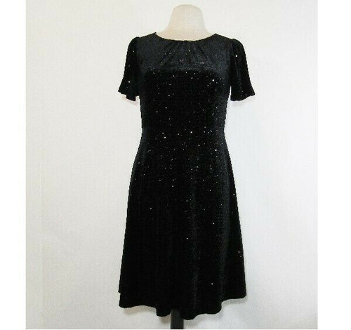 RSVP by Talbots Women's Black Sequined 1/2 Zip Cocktail Dress Size 4 Petite