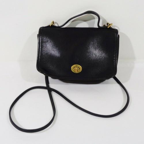 Coach Black Leather Vintage 90s Mini Crossbody Purse *Broken Strap*