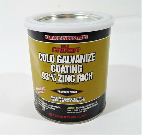 Aervoe Crown Cold Galvanize Coating 93% Zinc Rich 1 Quart *NEW- RUST- DENTED CAN