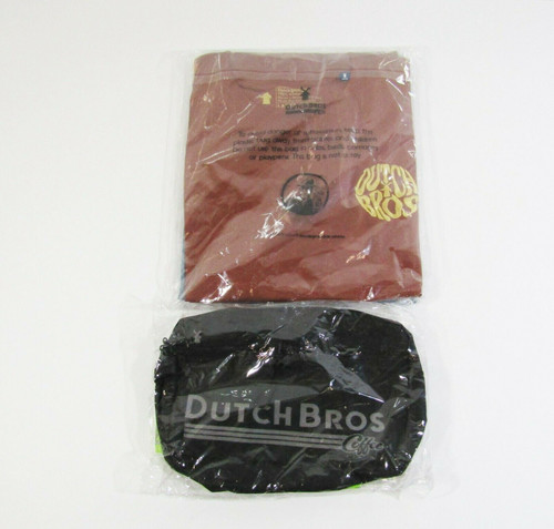 Dutch Bros Coffee Men's 2 Pack T-Shirts w/ Adjustable Hip Pack Size Large *NEW*