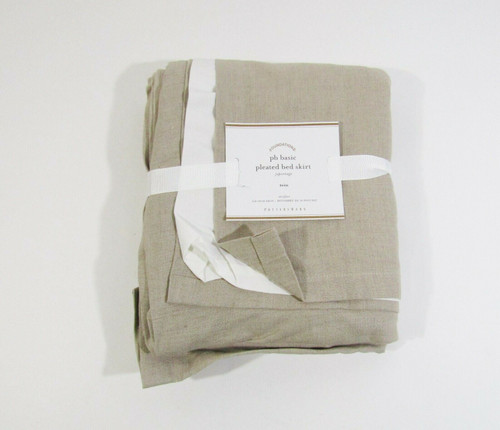 "Pottery Barn Basic TWIN Pleated Bed Skirt w/ 18"" Drop, 39"" W x 76"" L **NWT**"